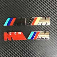autocollant 3d chrome auto achat en gros de-10pcs 45mm M puissance SPORT Petite Aile Latérale Voiture Chrome Badge Emblème Auto Logo Qualité Supérieure 3D Alliage Corps Autocollant