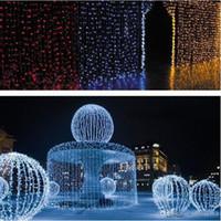 Wholesale Outdoor Christmas Decorations Uk - 2017 500 Led Curtain Light 10m*1.5m 110- 220v Christmas Xmas Outdoor String Fairy Lights Wedding Party Decoration Au Eu Us Uk Plug