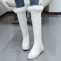 Wholesale Hot Long Boots - fashion women winter warm long leg boots with rabbit fur and flat heel new arrival hot shoes SCP086