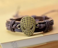 Wholesale Halloween Bracelet Spider - Supply Cool New Genuine Leather Bracelet Jewelry Bangle Cuff Pewter Metal Film Spider-man Charm Bracelets free shipping