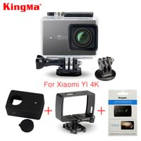 Wholesale Waterproof Camera Film - Wholesale- Kingma Waterproof Case+Frame+Screen Protector Film+ Silicone Case+Lens Cover For Xiaomi yi 4K Action Camera 2 II Accessories