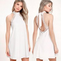 Wholesale Stretch Bows - New arrival fashion Women's dress sleeveless Bare back lace Halter Stretch knitting Four colors Size X- XL
