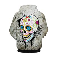 Wholesale Men S Skull Heads - Men Women Hooded Sweatshirt 3D Skull Head Print Hoodie Pullover Paint Hoody Tracksuit Tops Plus Size Casual Streetwear