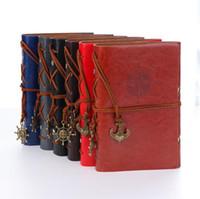 portadas de libros de cuero vintage al por mayor-18.5 * 12 cm retro vintage ancla cubierta de cuero de imitación cuaderno diario viajero libro diario en blanco cuerda cuaderno de bocetos