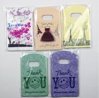 Wholesale Joy Shopping Jewelry Packaging Plastic Gift Bag With Handle pink plastic bags
