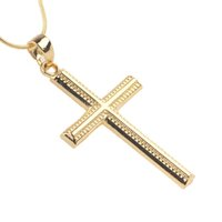 ingrosso catena 24k mens-Trendy 24k oro giallo riempito Womens Mens Solid No Stone Cross Crucifix Pendant Necklace Jewelry Chain 6G