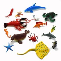 Wholesale Set Sea Fishing - 15Pcs set PVC Simulation marine organism Model Of Dolphins octopus sea turtles crab seal lobster starfish Model Toys fish for kids gift