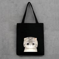 çanta kedi baskısı toptan satış-Sevimli Kedi Baskılı kadın Casual Tote Kadın Günlük Kullanım Kadın Alışveriş Çantası Bayanlar Tek Omuz Çanta Basit Plaj Çantası