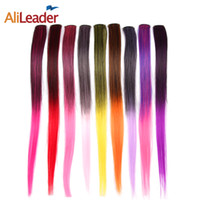 Wholesale Straight Hair Extensions Clips - Wholesale- AliLeader 50CM Long Straight 2 inch width 1 Clip 1 Piece Clip In Hair Extensions Synthetic Fake Hair Pieces Ombre Two Tone Color