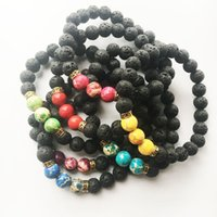 Wholesale Stone Craft Jewelry - Hot New Arrival Lava Rock Beads Charms Bracelets colorized Beaded Men's Women's Natural stone Strands Bracelet Jewelry Crafts