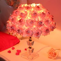 Wholesale Red Rose Flower Led Lights - Foyer Reading sitting living room princess desk wedding table lamp rose flower marriage table light crystal table lamp