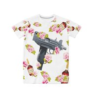 Wholesale Real Guns - Real USA Size Guns, Alcohol & Roses 3D Sublimation print T-Shirt Plus size