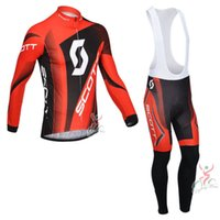 Wholesale Scott Long Sleeve Jersey Set - SCOTT Pro Quick dry long sleeve Set cycling jersey Ropa Ciclismo bicycle bike clothing breathable Sportwear D1211