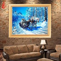 Wholesale Canvas Oil Paintings Drawn - YGS-226 DIY 5D Diamond Embroidery Horse Drawing Round Diamond Painting Cross Stitch Kit Mosaic Painting Home Decoration