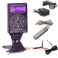 Wholesale Supplies Tattoo Set - Wholesale-Tattoo Power Supply Kits Set Hurricane HP-2 Dual Digital LCD Tattoo Power Supply with Clip Cord and Foot Pedal