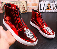 Wholesale Men Causal Style Shoes - 2017 High Quality Fashion Men High Top British Style Rrivet Shoes Men Causal Luxury Shoes Red Gold Black Bottom rubber Shoes for Male AXX480