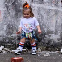 Wholesale Rainbow Leg Warmer - New Fashion Girls Boys Socks Baby Socks Striped Rainbow Parent-Child Family Sports Socks Kids Leg Warmer Children knee High Sock A5886