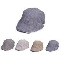 Wholesale Gatsby Hat Cotton - Slub Cotton Linen Men's Women's All Season Duckbill Ivy Driver Golf Cabbie Gatsby Cap Hat T262