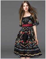Wholesale Lace Embroidery Dress Catwalk - 2017 Summer Dress Catwalk With Women'S Horn Sleeve Embroidery Embroidery Short-Sleeved Dress Elegant leisure restoring ancient ways