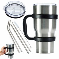 Wholesale Water Bottle Lid Straw - Portable 7 Piece set Water Bottle Mugs Cup Handle Lid Straw Set for YETI 30oz Tumbler Cup Hand Holder Fit Travel Drinkware