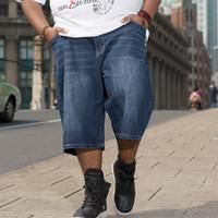 Wholesale stripe denim shorts - Wholesale-Plus Size Big Men Summer Shorts Jeans Men Loose Jeans Hip Hop Denim Pants New Brand Baggy Jeans Men Size 30-42 44 46