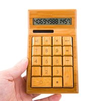 Durable Natural Bamboo Solar Calculator Handmade Artesanal Eco-Friendly Madera Calculadora de 12 dígitos de energía dual Bambú Madera Única Calculadora