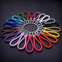 Wholesale 22 Braided Leather - Creative hand-woven rope leather key chain 22 styles options Candy Color PU Weave Braid Rope Charm Key Ring small gift Souvenir gift D078