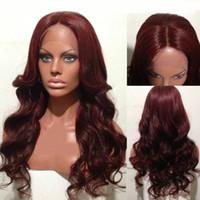 Wholesale 99j Lace Front Wigs - 99J Color Lace Front Human Hair Wigs Middle Part 9A Virgin Brazilian Human Hair Full Lace Wigs Red Color Lace Front Wigs