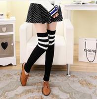 Wholesale Brown Knee Pads - Wholesale- New Stripe Warm Knee Pad Spandex Leg Warmer Retail Women Leg Warmers Knit Boot Cuffs Womens Multi-color Short Leg Socks