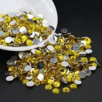 Wholesale Rhinestone Gems 4mm - All Size Citrine Resin Flatback Rhinestone, 14 Facets Flat Back Beads Gems DIY Kawaii 3mm,4mm,5mm,6mm
