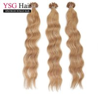 Wholesale Light Brown Wavy Hair Extensions - Prebonded Keratin U tip hair extensions #27 wavy brazilian remy human hair 1g strand 100g pack fusion hair piece in stock
