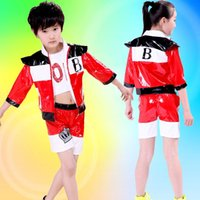 Wholesale Hip Cm - 3pcs boy girl children jazz dance gym modern dance hip hop stage children's clothing jacket vest shorts