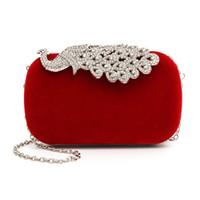 Wholesale peacock clutches for sale - Group buy High quality colors Fashion Crystal Diamond Handbag Evening Bag Purse Elegant Peacock Clutch hot sale