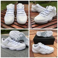 Wholesale Top Cut Leather - 2017 New Retro 11 Mens Basketball Shoes Low Cut White Leather Retros 11s Top Quality With Real Carbon Fiber Sports Sneakers Size 36-44