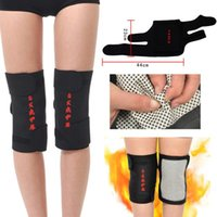Wholesale Volleyball Knee Protectors - Wholesale- 2 pcs health care magnetic therapy self-heating Knee Support Elastic Sports Wrap Protector Patella Guard Volleyball Knee Pad
