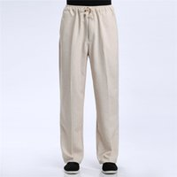 Wholesale Shanghai Story Blend Linen Casual Pants Men s Pant Chinese Male Kung Fu Trousers Chinese Traditional Clothing for man
