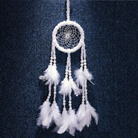 Wholesale Wedding Car Decorations Supplies - Dreamcatcher White Feather Wedding Decoration Handmade Dream Catcher Car Wall Hanging Home Decor Ornament Party Supplies Gift