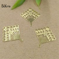 Wholesale fan shaped charms for sale - Group buy BoYuTe Colors MM HOT Sale Filigree Charm Fan Shaped Fashion DIY Brass Jewelry Materials