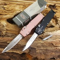 Wholesale Mini Pocket Hunting Camping - microtech mini halo V D2 drop blade single action Hunting Pocket Knife Survival Knife A07 A162 A161 616 A163 C07 Xmas gift for men 1pcs