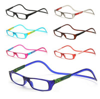 Wholesale Glass Hanging - Magnetic Reading Glasses Men Women Clear Colorful Adjustable Hanging Neck presbyopic glasses +1.0 1.5 2.0 2.5 3.0 3.5 4.0 Free Shipping