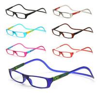 ingrosso occhiali da lettura appesi-Occhiali da lettura magnetici Uomo Donna Clear Colorful regolabile Hanging Neck occhiali presbiopici +1.0 1.5 2.0 2.5 3.0 3.5 4.0 Spedizione gratuita