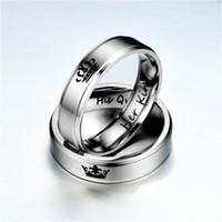 paare krone ringe groihandel-Edelstahl Ihr König Seine Königin Krone Band Ring Paar Ringe Liebe Ring für Liebhaber Hochzeit Schmuck Drop Shipping