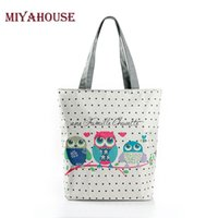 Wholesale Owl Bag Zipper - Cartoon Owl Print Casual Tote Lady Canvas Beach Bag Female Handbag Large Capacity Daily Use Women Single Shoulder Shopping Bags