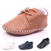 Wholesale Infant Autumn Wear - MiYuebb Handmade Oxford Shoes Infant Toddler Baby Walking Shoes Hard Sole Anti-slip Laced Baby Casual Wear Moccasin L1983
