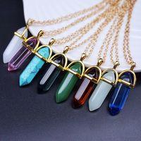 Wholesale Long Chained Gemstone Necklace - 44 color Women Necklaces Pendants Hexagonal Prism Gemstone Rock Natural Crystal Quartz Healing Point Chakra Stone Long Chains