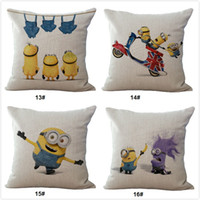 Wholesale Despicable Minion Inches - Funny Cute Despicable Me Minions Pillowcases Cotton Linen Cushion Covers Standard Size 18 inch for home sofa bed office gift