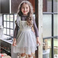 Wholesale Lace Pleat Girl - Girls Suspender Dress Kids Lace Ruffle Suspender Dress New Autumn Children Mesh Gauze Cake Dress Girls Princess Clothing C1347