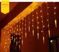 Wholesale Christmas Luminarias - Holiday Lighting 4x0.6 M Icicle Colorful Christmas Fairy LED Curtain Chain Luminarias Garland Christmas Decoration LED Light