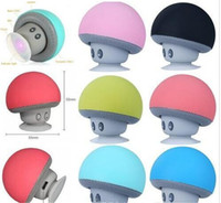 Wholesale tablet stand plastic card for sale - Group buy BT280 cute mini mushroom Car speaker subwoofer Bluetooth wireless speaker silicone sucker phone tablet computer stand