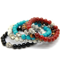 Wholesale Agate Strands - Hot Sale 10pcs lot Exquisite Buddha Bracelets With Natural Red black Agate, Yellow Tiger Eye, White and Turqoise Stone